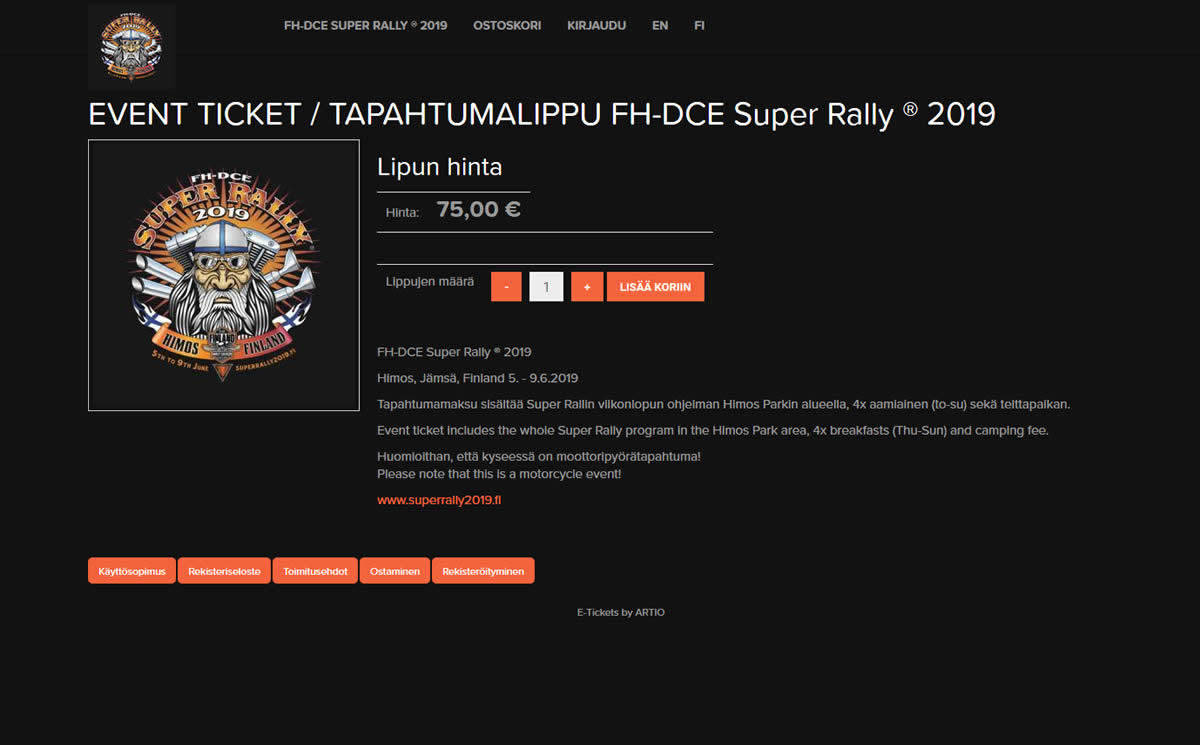 FH-DCE Super Rally ® 2019 Himos, lippukauppa