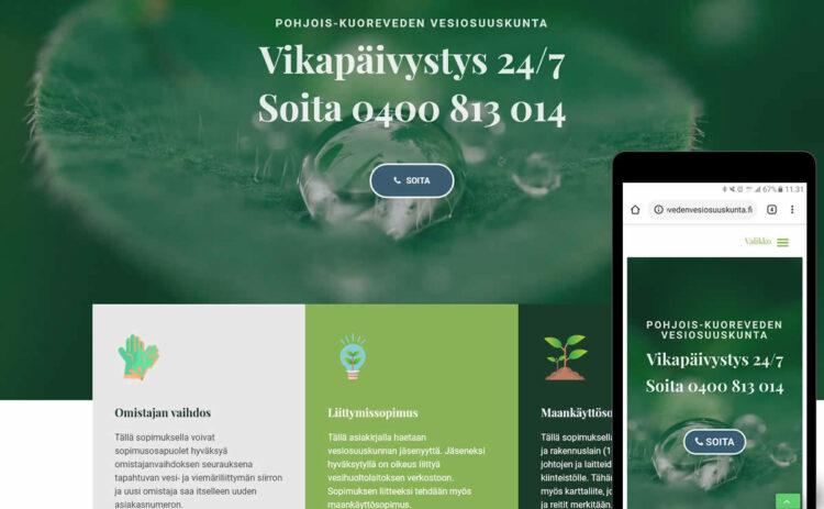 Toteutimme Pohjois-Kuoreveden vesiosuuskunnan verkkosivut WordPress-julkaisujärjestelmällä ja mobiiliystävällisellä One Pager -tekniikalla