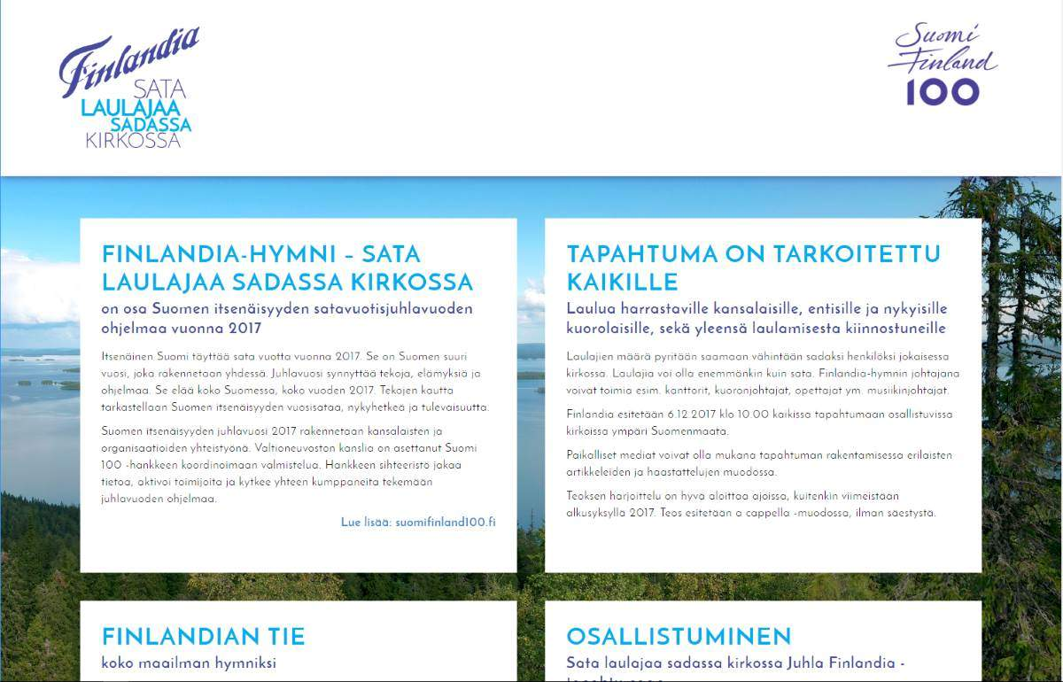 Sata laulajaa sadassa kirkossa, Suomen juhlavuosi 2017