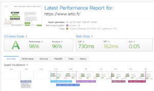 Wordpressin latausnopeus selviää testeillä. Artio testaa aina WordPress-sivujen latausnopeuden.
