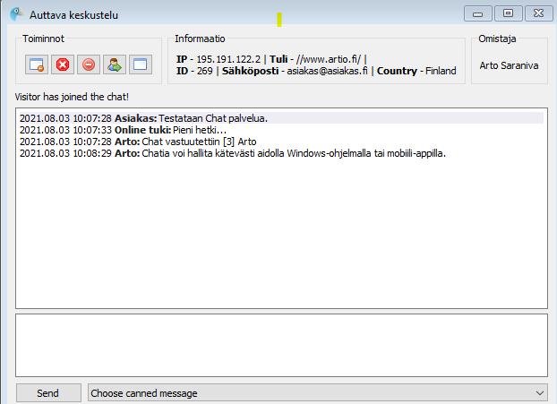 Chatin asiakaspalvelua Windows-clientilla